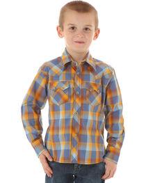 Wrangler Boys' Plaid Long Sleeve Western Shirt, , hi-res