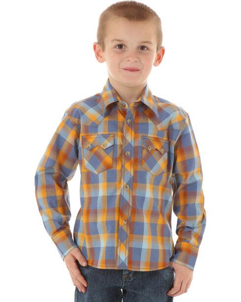 Wrangler Boys' Plaid Long Sleeve Western Shirt, Blue, hi-res