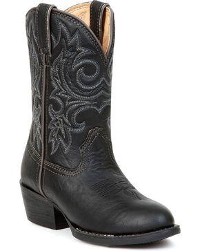 Durango Kid's Round Toe Western Boots, Black, hi-res