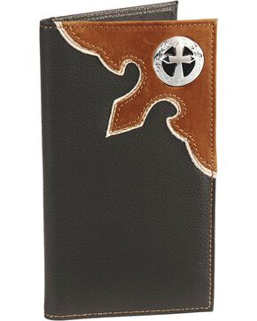 Nocona Cross Concho Overlay Checkbook, Black, hi-res