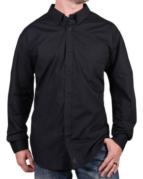 Cody James Core Men's Chute Solid Long Sleeve Shirt, Black, hi-res