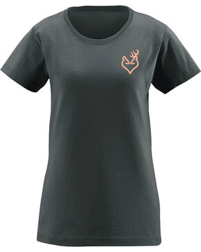 Browning Women's Turkey Feather Buckheart Tee , Charcoal, hi-res