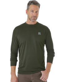 Wrangler Men's Green Riggs Crew Performance Long Sleeve T-Shirt - Big and Tall, , hi-res