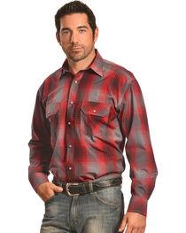 Crazy Cowboy Men's Red and Black Plaid Western Snap Shirt  , , hi-res