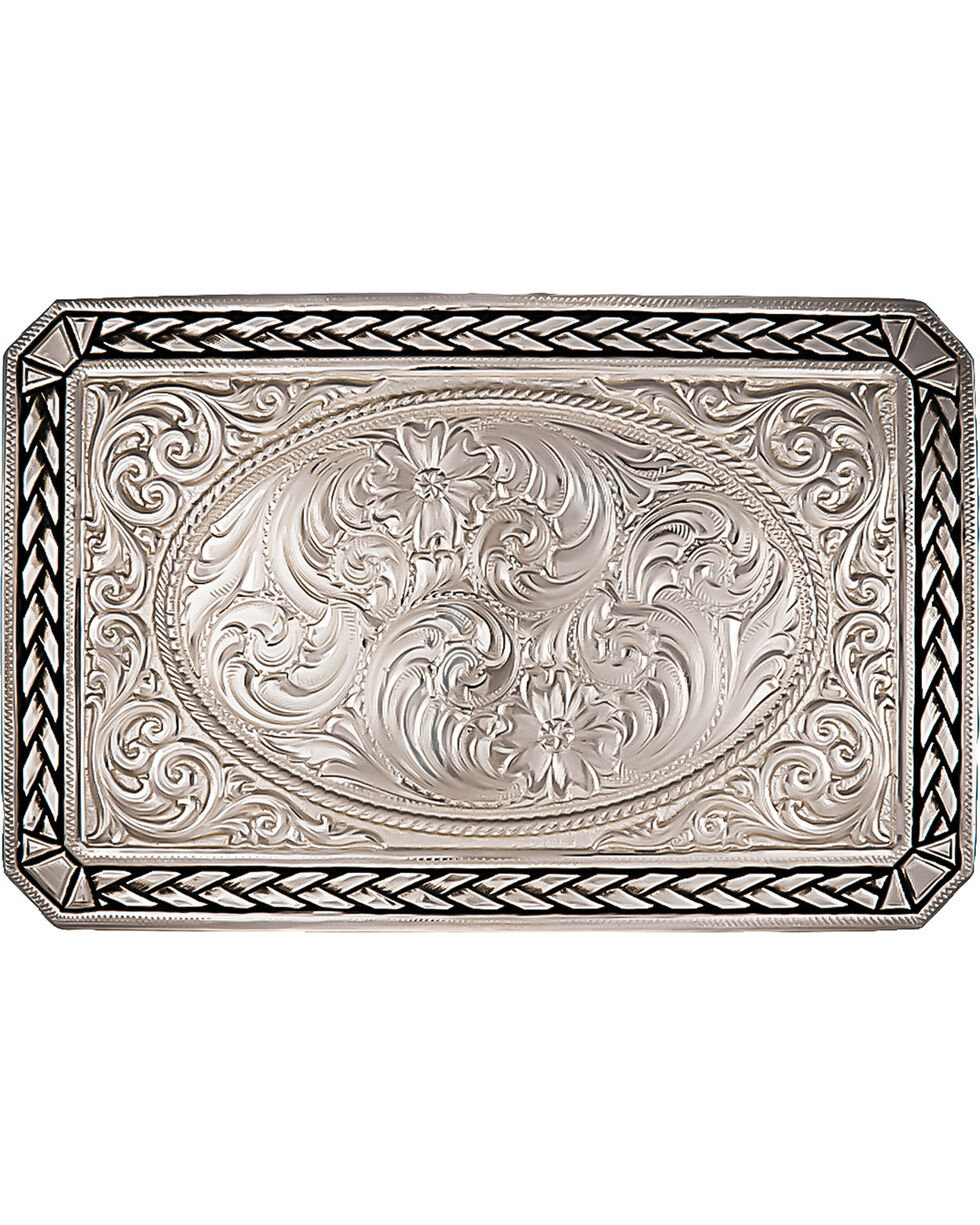 Montana Silversmiths Antiqued Wheat Trim Portrait Buckle, Silver, hi-res
