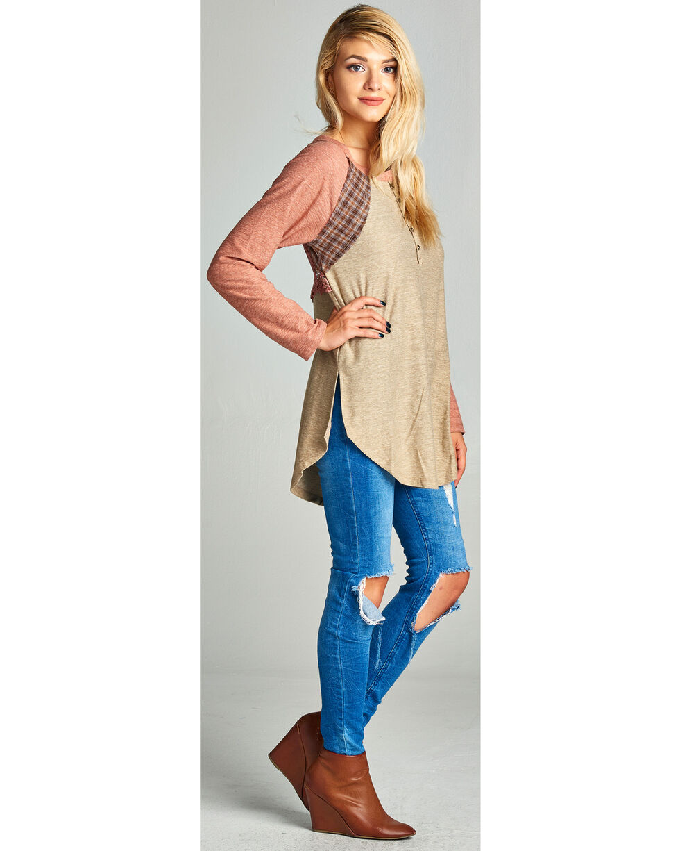 Hyku Women's Lace Back Detail Henley Tee, Coral, hi-res