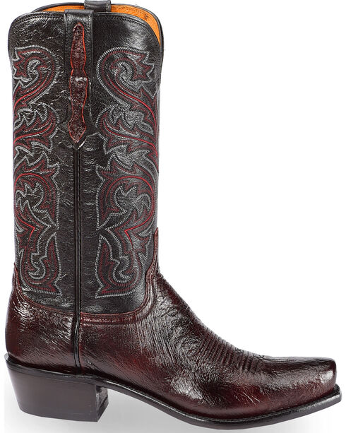 Lucchese Men's Black Cherry Nathan Smooth Ostrich Western Boots - Square Toe , Black Cherry, hi-res