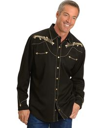 Scully Men's Retro Embroidered Music Note Western Shirt, , hi-res