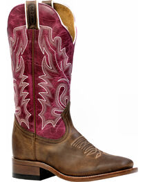 Boulet Hillbilly Golden Lava Magenta Cowgirl Boots - Square Toe, , hi-res