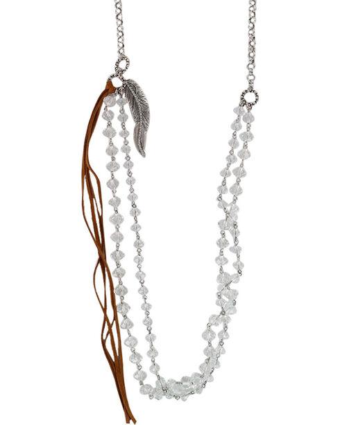 Shyanne® Women's Extra Long Crystal Fringe Tassel Necklace, Silver, hi-res