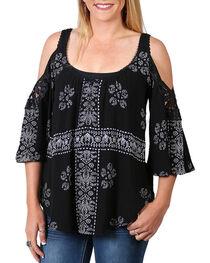 Luna Chix Women's Crochet Pattern Cold Shoulder Top, , hi-res