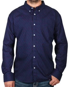 Cody James Dot Patterned Long Sleeve Shirt, Navy, hi-res