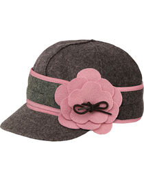 Stormy Kromer Women's Charcoal & Pink Petal Pusher Cap, , hi-res