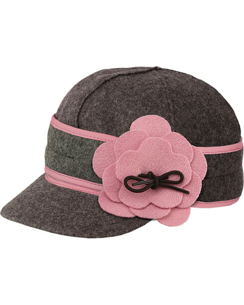 Stormy Kromer Women's Charcoal & Pink Petal Pusher Cap, Multi, hi-res