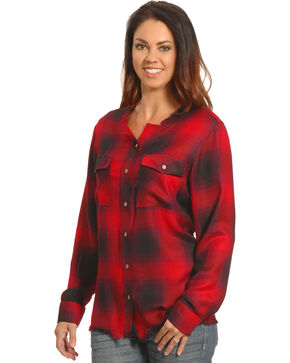 New Direction Women's Frayed Edge Red Plaid Shirt - Plus Sizes, Red, hi-res