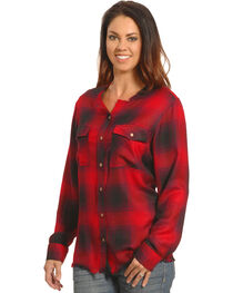 New Direction Women's Frayed Edge Red Plaid Shirt , , hi-res