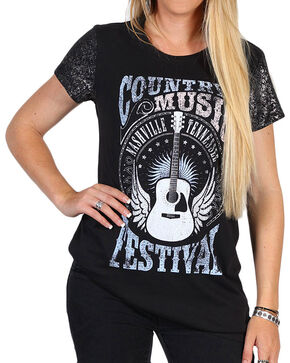 Shyanne Women's Foil Sleeve Country Music Graphic Tee, Charcoal, hi-res