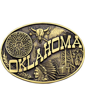 Montana Silversmiths Oklahoma State Heritage Attitude Western Belt Buckle, Gold, hi-res
