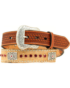 Hair-on-Hide Red Rhinestone & Concho Leather Belt, Tan, hi-res