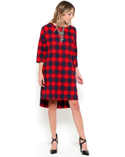 CES FEMME Women's Red Preppy Chic Plaid Dress , Red, hi-res