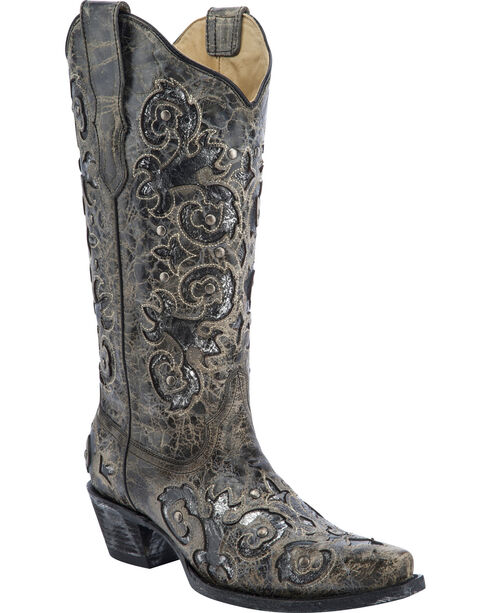 Corral Women's Metallic Inlay Western Boots, Black, hi-res
