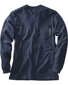Timberland Men's Charcoal Chest Pocket Long Sleeve Tee, Navy, hi-res