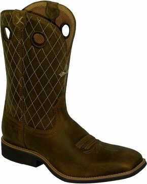 Twisted X Men's Calf Roper Square Toe Western Boots, Brown, hi-res