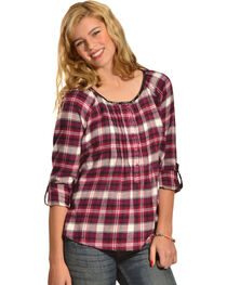 Red Ranch Plum Plaid Pleather Trim Pleated Flannel Top , , hi-res