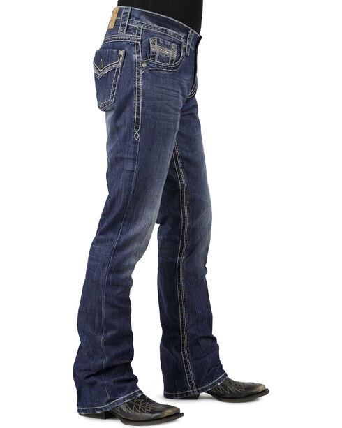 Stetson Men's Rocker Fit Boot Cut Jeans, Denim, hi-res