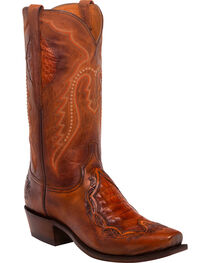 Lucchese Men's Bryson Peanut Caiman Inlay Western Boots - Square Toe, , hi-res