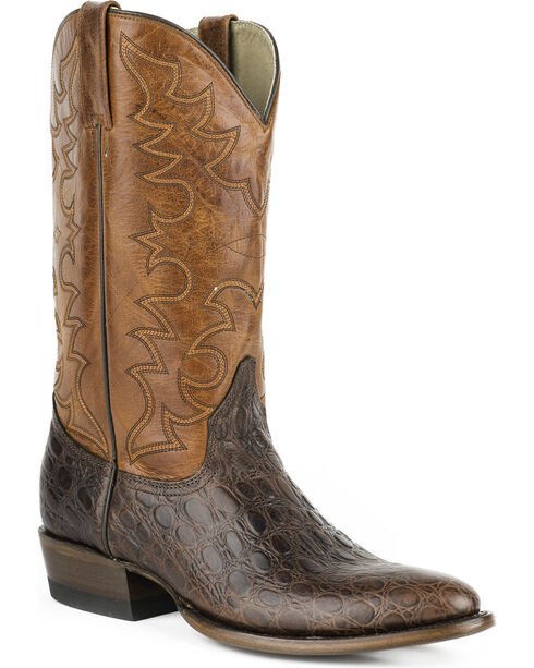 Roper Men's Sea Turtle Print Western Boots, Dark Brown, hi-res