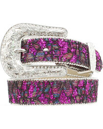 Nocona Girls' Floral Lace Sparkling Belt - 20-28, , hi-res