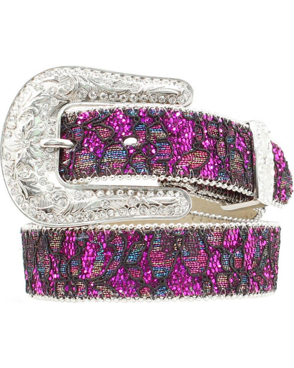Nocona Girls' Floral Lace Sparkling Belt - 20-28, Purple, hi-res