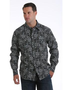 Cinch Men's Garth Brooks Paisley Long Sleeve Shirt, Black, hi-res
