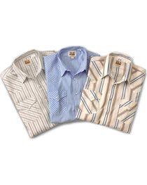 Ely Assorted Plaid or Stripe Short Sleeve Western Shirt, , hi-res