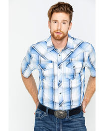 Cody James® Men's Block Plaid Short Sleeve Shirt, , hi-res