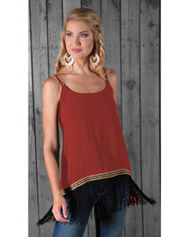 Wrangler Women's Sleeveless Fringe Tank Top, , hi-res