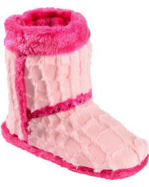 Blazin Roxx Youth Girls' Plush Pink Star Bootie Slippers, , hi-res