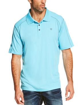 Ariat Tek Men's SPF Short Sleeve Polo, Aqua, hi-res