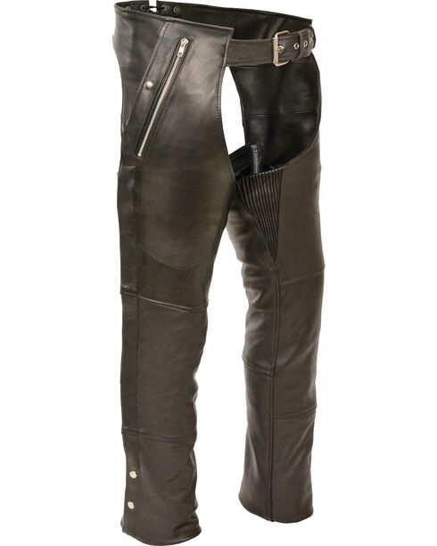 Milwaukee Leather Men's Black Four Pocket Thermal Lined Chaps - 3X, Black, hi-res