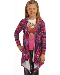 Rock & Roll Cowgirl Girls' Long Sleeve Hoodie Cardigan, , hi-res