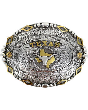Cody James® Men's Oval Texas Longhorn Belt Buckle, Silver, hi-res
