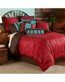 HiEnd Accents 7-Piece Super Queen Cheyenne Red Tooled Faux Leather Comforter Set, , hi-res