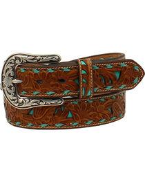 Nocona Women's Brown Embossed Turquoise Inlay Belt, , hi-res