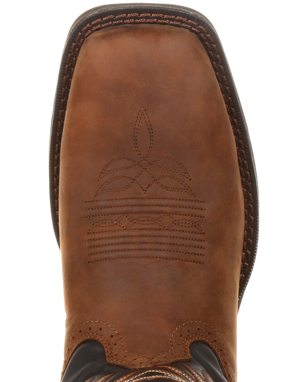 Durango Men's Rebel Pull-On Western Boots - Wide Square Toe, Chocolate, hi-res