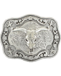Nocona Rectangle Rope Edge Steer Skull Buckle, , hi-res