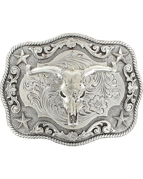 Nocona Rectangle Rope Edge Steer Skull Buckle, Silver, hi-res