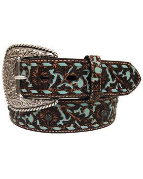 Roper Women's Dark Brown Floral Overlay Leather Belt , Dark Brown, hi-res