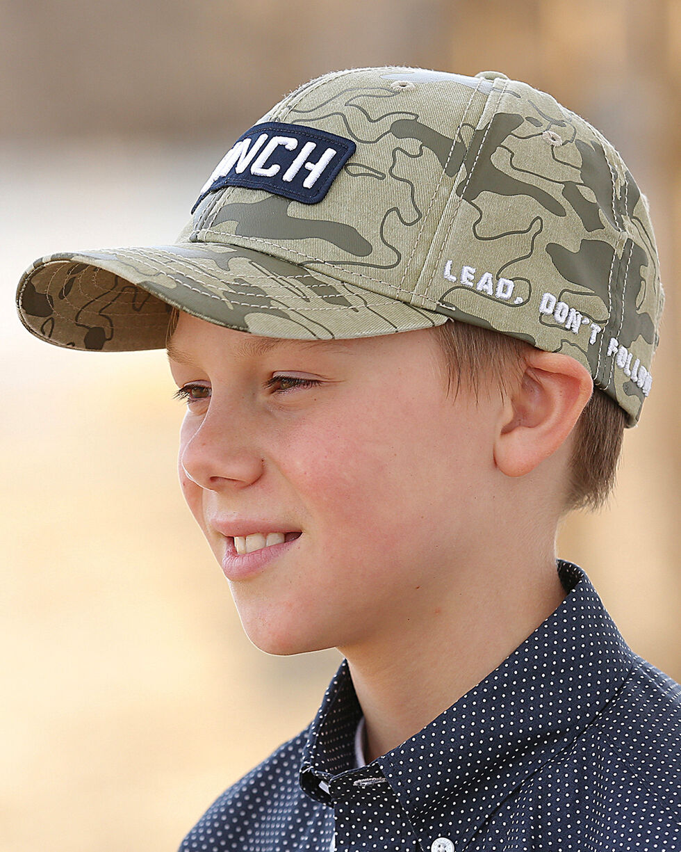 Cinch Boys' Camo Printed Baseball Cap, Beige/khaki, hi-res