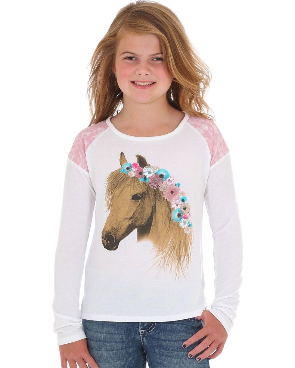 Wrangler Girls' Cream Lace Horse Print Top , Cream, hi-res